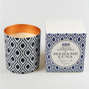 Blue Decal Saffron-Myrrh Candle